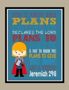 Amazon.com: Thor Christian Superhero Wall Art Print - For I Know The Plans I have For You - Jeremiah 29:11 Bible Verse: Handmade