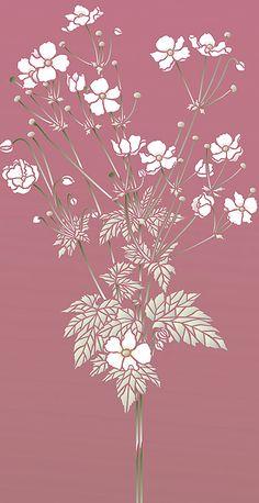Japanese Anemone Flower Stencil