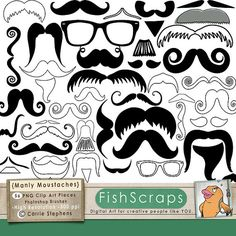 Mustache Clip Art  Moustache Clip Art  - Photoshop Brushes - Personal and Commercial Use Digital Artwork.