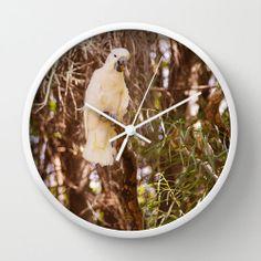 #White #Bird Round #Modern Wall #Clock #Green #Decor #Dorm by #PhotographybyLadybug