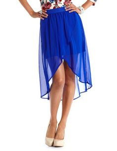 [2] $24.99 Chiffon Hi-Low Tulip Skirt: Small Charlotte Russe