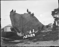 230732PD: Children in uniform on and around Dog Rock, Albany, ca. 1910. http://encore.slwa.wa.gov.au/iii/encore/record/C__Rb3780728__S230732PD__Orightresult__U__X3?lang=eng&suite=def