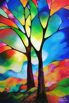 Two Trees Painting - Two Trees Fine Art Print - by Sally Trace