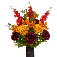 Burgundy Rose with Orange Delphinium (MD1663) Fall Bouquet with the Stay-In-The-Vase® design. Stop missing cemetery flowers! A great bouquet for your loved one!