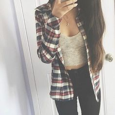 Knitted silk top, thin flannel shirt and black denim jeans - http://ninjacosmico.com/17-hipster-outfits-try-spring/