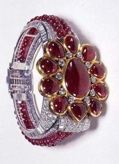 Platinum, Diamond & Ruby Bracelet by Clive Kandel for Cartier of London, 1937