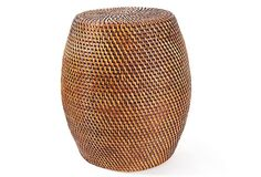 """18"""" Drum Stool, Rattan, Tobacco. This charming handwoven rattan stool will add texture and style to any indoor or outdoor space. Ideal as additional seating, this piece can also showcase a piece of art or serve as a chic setting for a vase of flowers."""