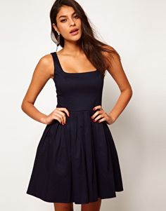 ASOS Skater Dress In Cotton Sateen With Square Neck