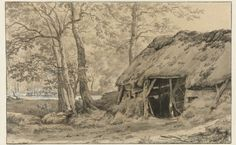 A Hut or Sheep Pen in the Woods, Adriaen van de Velde, 1646 - 1672 - Rijksmuseum Landscape Drawings, Landscape Paintings, Sheep Pen, 17th Century, Netherlands, Amsterdam, Woods, Cabin, House Styles