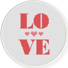 Love With Heart Cross Stitch Illustration