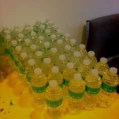 Football themed baby shower - wrapped water bottles