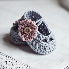 Old Rose Baby Booties