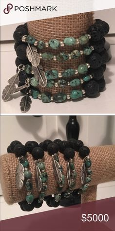 Essential Oil Diffuser Bracelet COMING SOON! These bracelets are made with natural LAVA ROCK and TURQUOISE beads and a feather charm! Add two or three drops of your favorite essential oil onto the beads and enjoy the therapeutic benefits for up to 24 hrs! ☃️ Boho Gypsy Sisters Jewelry Bracelets