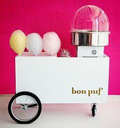 Rentable cotton candy cart! Genius! Bon Puf
