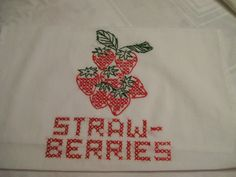 Embroidered Strawberries Towel Vintage  Hand Stitched Decorative Towel