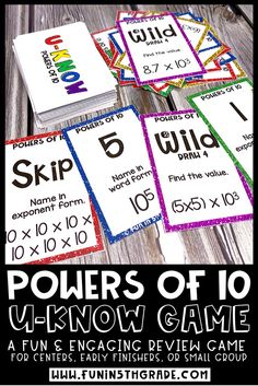 U-Know Game that covers the Power of 10 for 5th grade math.  Fun and engaging activity perfect to use for test prep and review.  Some skills that are worked on with this game are naming a power of 10 in exponent form from standard form, finding the value of multiplication of division problem using the power of 10, finding the value of a power of 10 in exponent form and MORE!  Perfect for centers, early finishers and small groups.  #powersof10 #5thgrademath