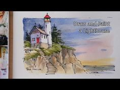Draw and Paint a Lighthouse in Watercolor. Great for beginners using just 3 color. - YouTube