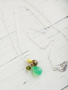 Green Chalcedony Necklace Gemstone Sterling by beesandbuttercups, $39.00