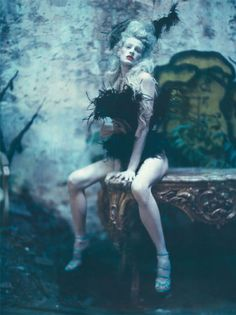 'The Grand Couture', Kristen McMenamy by Paolo Roversi, Vogue Italia September 2010. Christian Dior Fall Winter 2010 Haute Couture