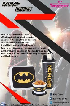 Tupperware BATMAN Lunch Set: Send your little super hero off with a healthy meal. Includes Sandwich Keeper, Snack Cup and 16-oz./470 mL tumbler. Hurry! Grab yours now, Contact me directly for orders and reservations @ (229) 300-5040 VISIT my site @ http://evadavis.my.tupperware.com/ for more details. Like us on FaceBook @ https://web.facebook.com/tupperwareexperts/ #tupperware #consultant #Evastupperwareexperts #Batman #Lunchset #kids #Set #tuesday