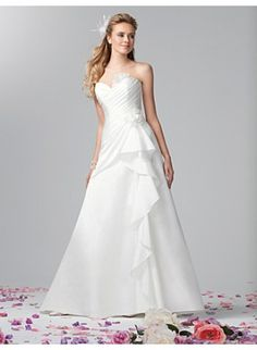 White Ivory Sweetheart Taffeta Wedding Gown