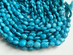 Turquoise Faceted Oval Beads Chinese Turquoise by gemsforjewels