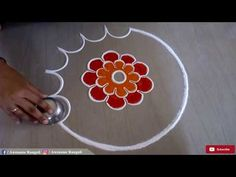 Beautiful Flower Rangoli Design - YouTube