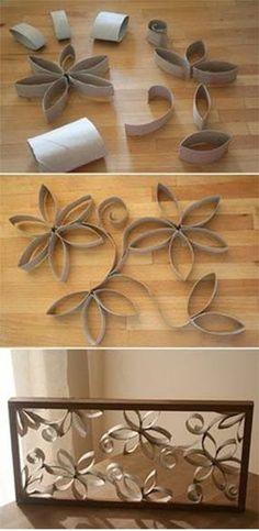 Hacer un cuadro con rollos de papel de water!