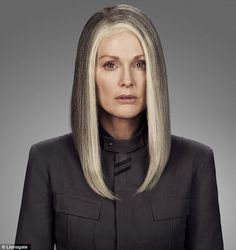 Mono-chromatically grey: Lionsgate released the fist images of Julianne Moore as President Alma Coin in The Hunger Games: Mockingjay - Part ...