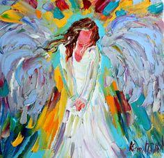 Original oil ANGEL PALETTE KNiFE painting by Karensfineart on Etsy, $45.00