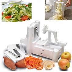 Hot Bestseller Slicers Tri-Blade Vegetable Spiral Slicer Spiralizer Veggie Cutter Spaghetti Pasta Maker ** Click on the image for additional details.