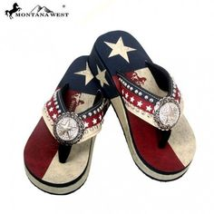 f30e24fc41e618 Montana West Texas Flag Bling Star Concho Flip Flops Wedged Sandals  American  MontanaWest  AmericanFlag