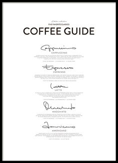 This is the perfect poster for coffee lovers! The Five Coffee Classics black-and-white poster is you...