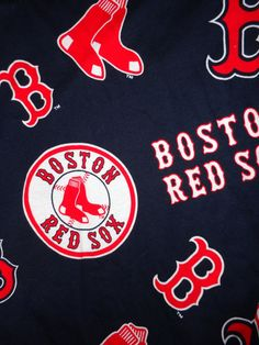 Red Sox cotton fabric dark blue background material scrap craft piece.