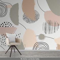 Wallpaper Wall, Self Adhesive Wallpaper, Peel And Stick Wallpaper, Leaves Wallpaper, Geometric Wallpaper, How To Install Wallpaper, Bedroom Decor, Wall Decor, Smooth Walls