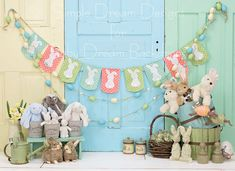 Bunny Stash... Photography backdrop only available at Baby Dream Backdrops.