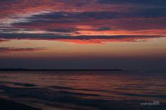 sky, red sky, sea, landscape, sunset, Poland, Swinoujscie