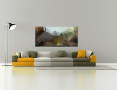 Polygons wall decor 50 x 105 cm by dekorprint on Etsy Sofa, Couch, Unique Image, Modern Materials, Beautiful Pictures, Wall Decor, The Originals, Abstract, Interior