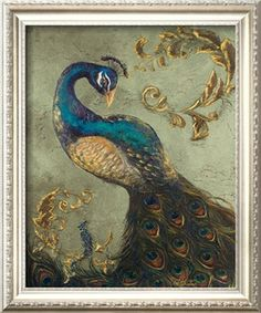 Peacock on Sage II Art Print by Tiffany Hakimipour at Art.com