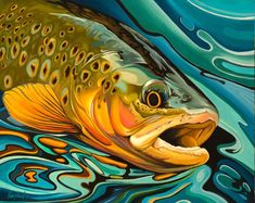 Trout Painting Giclée print original fish art Canvas print Ocean art Trout wall art Fly fishing Canvas x in x 60 cm) Print Image, Art Mur, Wall Art, Fishing Pictures, Brown Trout, Art Original, Original Paintings, Paintings Of Fish, Fly Fishing