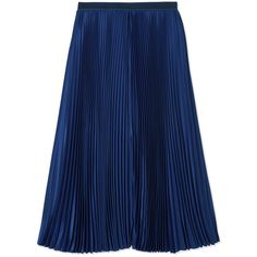 Sacai Luck Pleated Midi Skirt ($545) ❤ liked on Polyvore featuring skirts, bottoms, blue, knee length pleated skirt, slip skirt, blue midi skirt, sacai luck en mid calf skirt