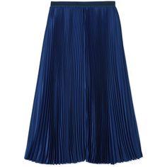 Sacai Luck Pleated Midi Skirt (7.794.870 IDR) ❤ liked on Polyvore featuring skirts, blue, midi skirt, blue pleated skirt, blue slip, calf length skirts and pleated skirt