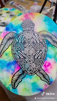 Mandala Art Lesson, Mandala Drawing, Cute Canvas Paintings, Canvas Art, Dibujos Zentangle Art, Doddle Art, Art Painting Gallery, Turtle Painting, Alcohol Ink Art