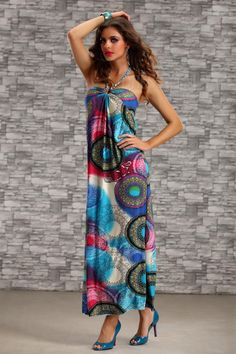 Clothing, Vivid Print Sleeveless Backless Elastic Halter Maxi Dress, $21.99