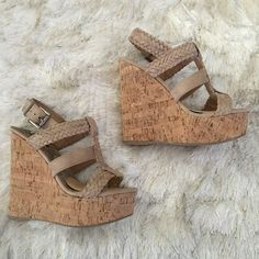 """Braided strap platform wedge sandals 7 Soda wedge sandals. New condition. Tried on but never worn. Size 7.  True to size. Faux suede with braided straps and adjustable buckle. Light tan color. Heel height 5.5"""" with 1.5"""" platform. Has removable ball of foot cushions. Cork wedge construction. ❌No trade. ❌No PayPal. ❌ Soda Shoes Platforms"""