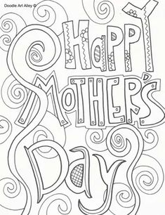 """A coloring page that says """"Happy Mother's Day"""""""