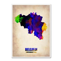 Belgium Watercolor Map by Naxart Painting Print on Wrapped Canvas