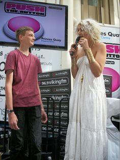 Viking FM Breakfast presenter Rosie Madison interviewing the winner.