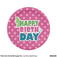 Pink dots butterfly happy birthday party plate