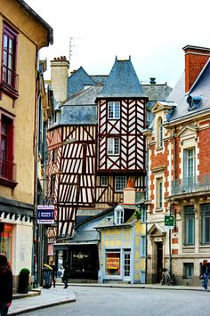 Timbered buildings in Rennes, Brittany, France
